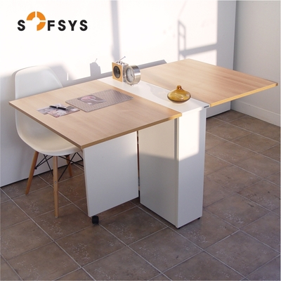 Folding dining table pre-telescopic wheel multifunction small units easy to move the storage of wood Korean WT043-1