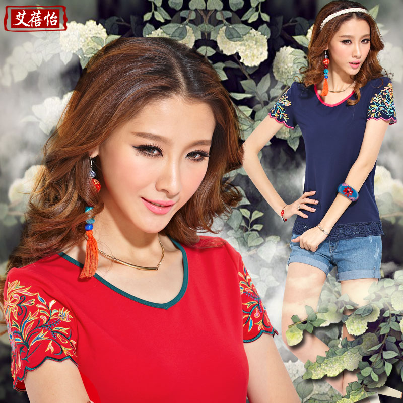 Ai Beiyi 2013 summer dress Ladies t shirt chain cutout embroidery round neck short sleeve women t-shirt size