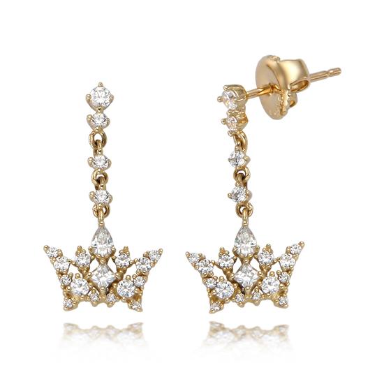 波菜韩国代购 少女时代代言J.estina 银 镶钻 高贵的皇冠 耳坠