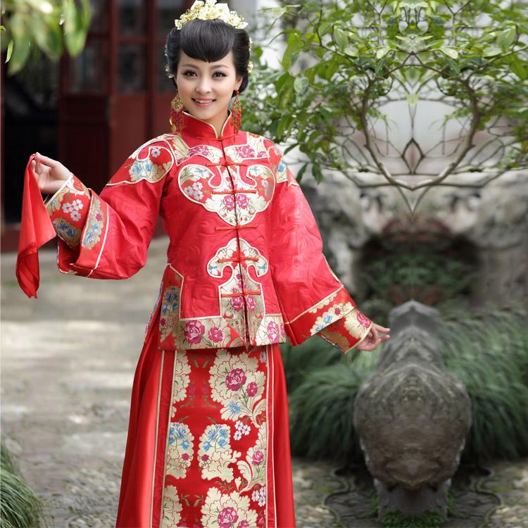 御恋裳 中式秀禾服新娘秀和婚纱大码 红色古装长袖旗袍敬酒服秋冬