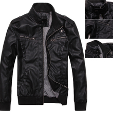 A thin jacket aoriwei clearance authentic locomotive model Men's leather Cultivate one's morality collar pu leather jacket coat