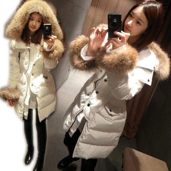 Женский пуховик Корея покупке долго вниз куртка женская густой длинной шерсти воротник вниз куртка зима 2013 новой корейской версии самостоятельной прилива Зима 2013 Разные комбинированные волокна Повседневный Облегающий покрой