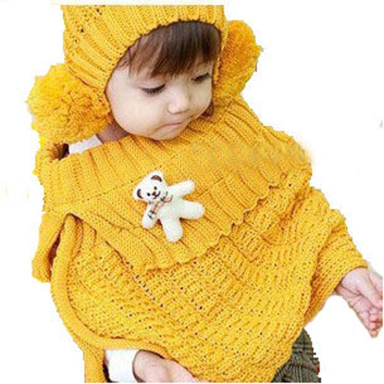 Набор из двух предметов Корейские дети в Шали осень и зима мода ребенка медведь ПИН, палантины, два куска шляпы костюм