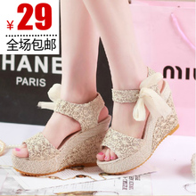 2013 summer new women&#39;s shoes fish head mixed colors sandals sub-slope with high-heeled muffin thick crust waterproof linen
