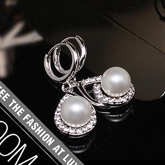 韩国进口耳饰 高档 奢华奥钻 晚宴气质款 嵌柔美珍珠时尚女耳钉