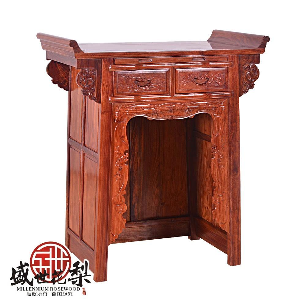 红木家具 非洲黄花梨翘头小佛龛 中式佛台 供桌图片