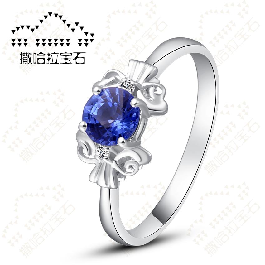 撒哈拉宝石 蓝宝石18K白金钻石糖果戒指 彩色宝石 新品女戒特价