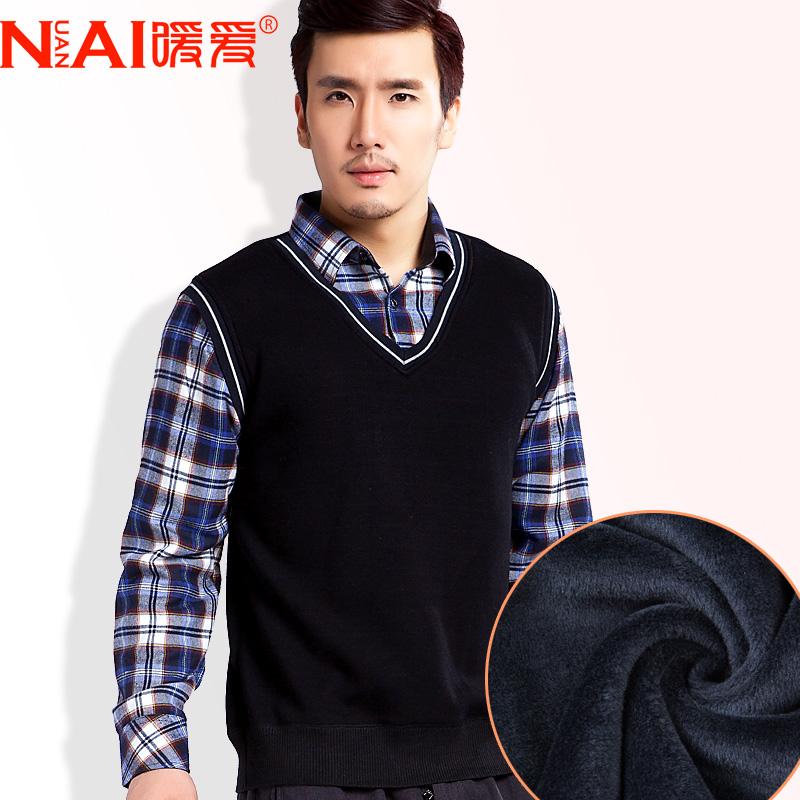 暖爱新款 男秋冬装男士保暖衬衫领假两件男格子上衣长袖加绒衬衣