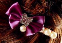 热卖新款韩国饰品 精美蝴蝶结珍珠发夹 花朵闪钻珍珠边夹 一字夹