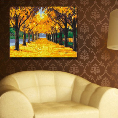 diy hand-painted digital painting 40 * 50 gold Special Landscape People living room floor of the restaurant part free shipping