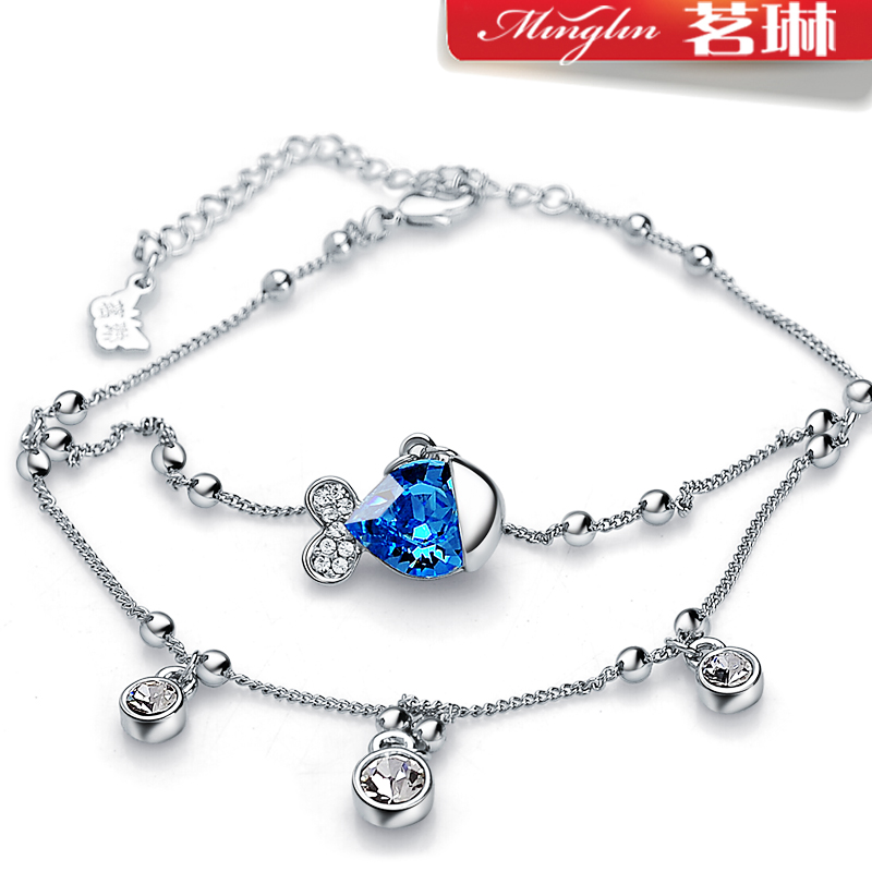 Tea jelly fish Linda Swarovski elements Crystal anklet female Korean fashion jewelry