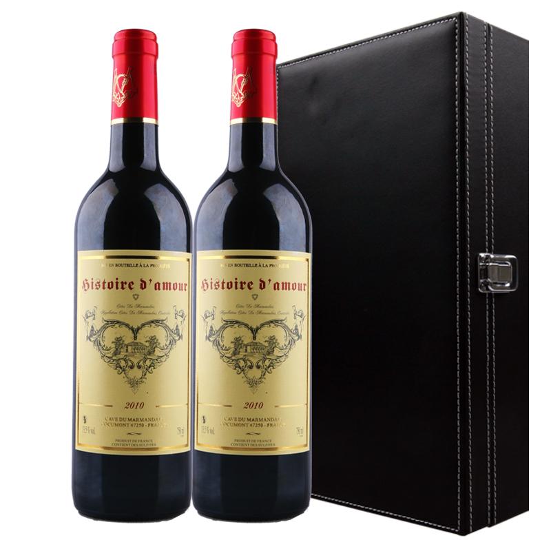 【VC红酒】法国波尔多原瓶进口 里斯爱情干红葡萄酒 双支礼盒套装