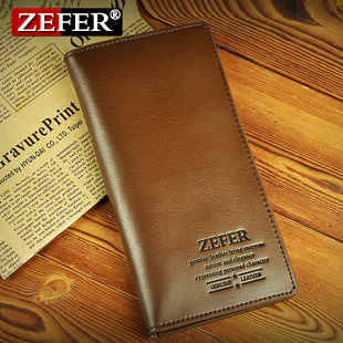 Monthly sale! ZEFER leather casual men's money clip wallet more than 30 percent function long wallet wallets