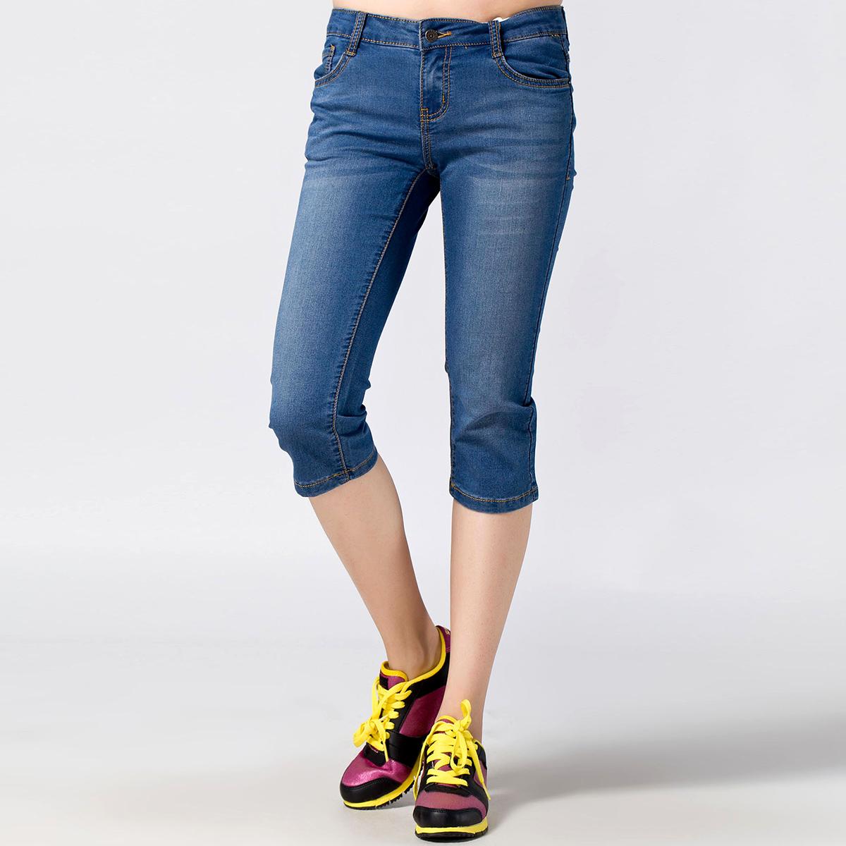 森马semir 2013夏装新款女款百搭牛仔七分裤女装显瘦七分裤65元
