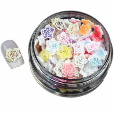 Saint henna nail jewelry carved hollow silica crystal flower 100 mixed color 10mm