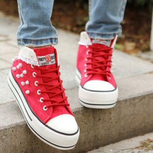 Chunky red canvas shoes women's high waist canvas shoes girl Korean version of the tidal wave of Korean style canvas shoes women Red
