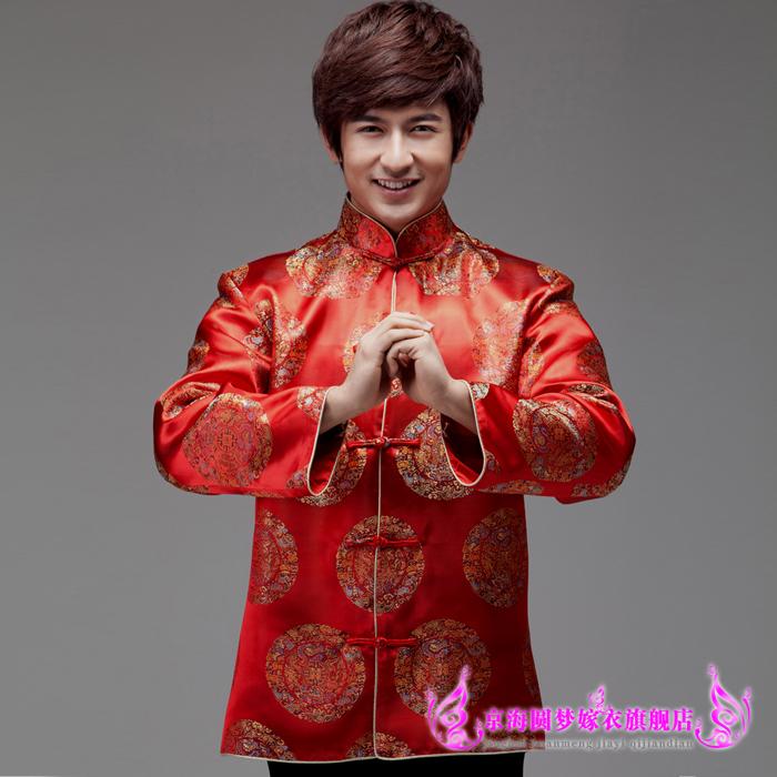 新款男士唐装新郎喜庆中式结婚礼服大红色七彩九龙团地主服上衣