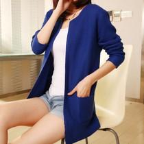 2013秋装新款口袋宽松外搭针织衫长袖女毛衣大码开衫中长款外套 价格:48.00