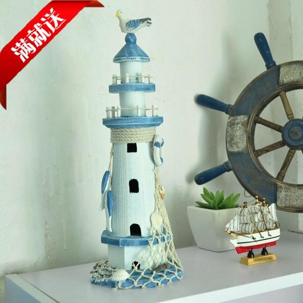地中海家居饰品 实木灯塔 装修创意礼品工艺品 复古做旧客厅摆件