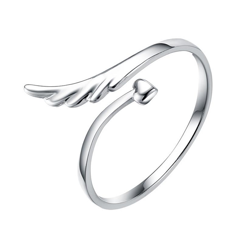 根号 925纯银 开口戒 尾戒 戒指 女 首饰品 生日礼物  天使的守护