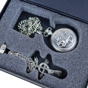 Roogo Cartoon Alloy Pocket Watch Necklace Ring Sets 2 Pcs