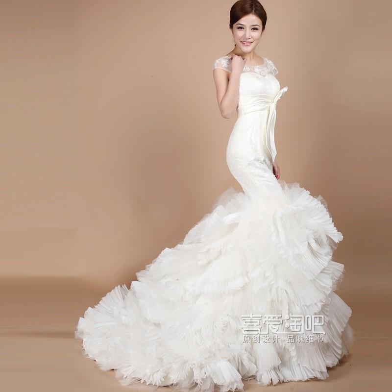 【喜爱淘吧】2013最新款vera wang包肩蕾丝礼服高级定制鱼尾婚纱