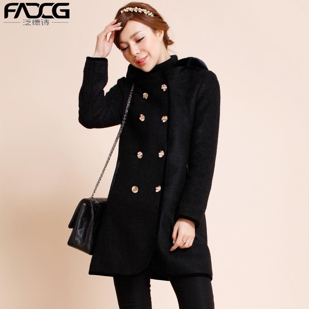 泛德诗正品韩版修身48.7%澳洲羊毛呢外套中长款呢大衣CN5