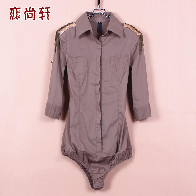 женская рубашка 9363 Casual Укороченный рукав,рукав средней длины Однотонный цвет Отложной воротник Один ряд пуговиц