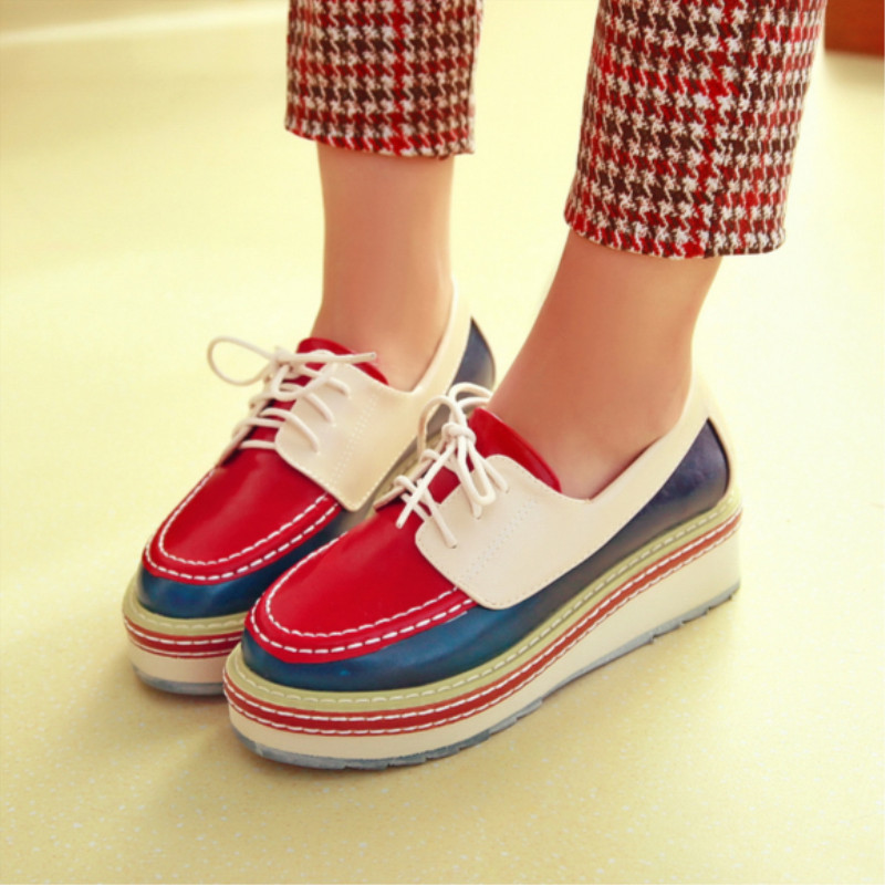 2013 autumn new European and American fashion shoes hit color waterproof heavy-bottomed muffin seasons retro lace shoes