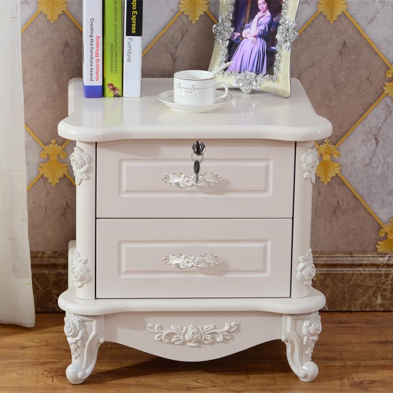 欧式床头柜白色简约现代卧室烤漆象牙白床边柜储物柜床头收纳柜