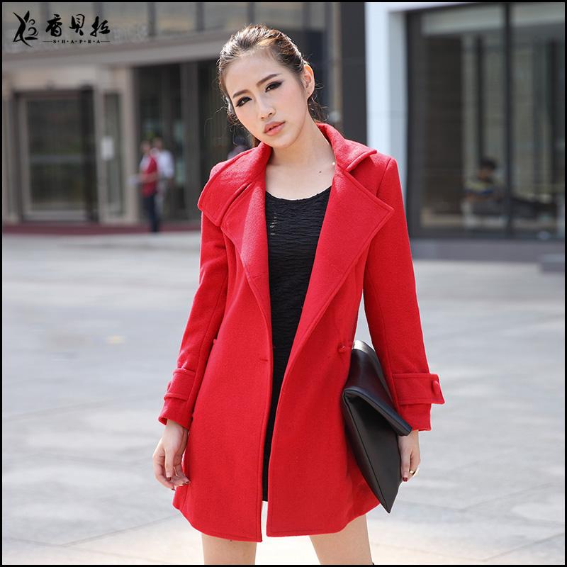 羊绒呢大衣外套女_2013新款冬装韩版中长款毛呢外套女妮子呢子羊绒大衣
