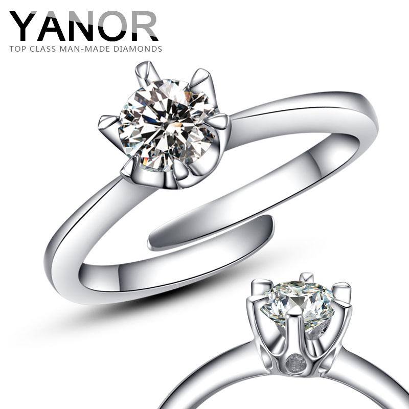 活口可调节戒指 银镀金婚戒女YANOR高仿钻戒 最佳表白戒指 女包邮