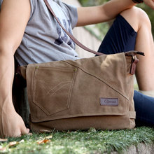 Song Rui canvas leisure bag man bag Men's cross-section shoulder bag Messenger bag Korean version of the influx of students pack bags