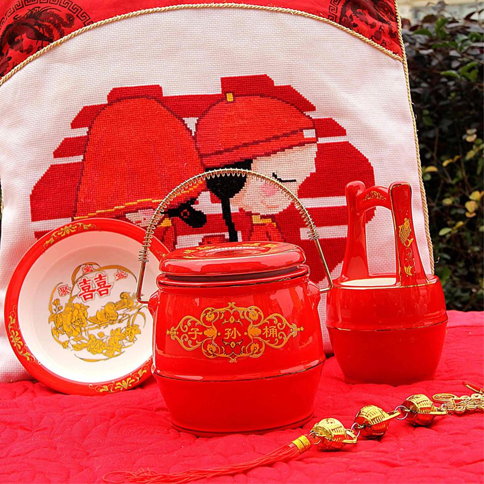 中式传统结婚礼品套装 子孙龙凤桶3件套