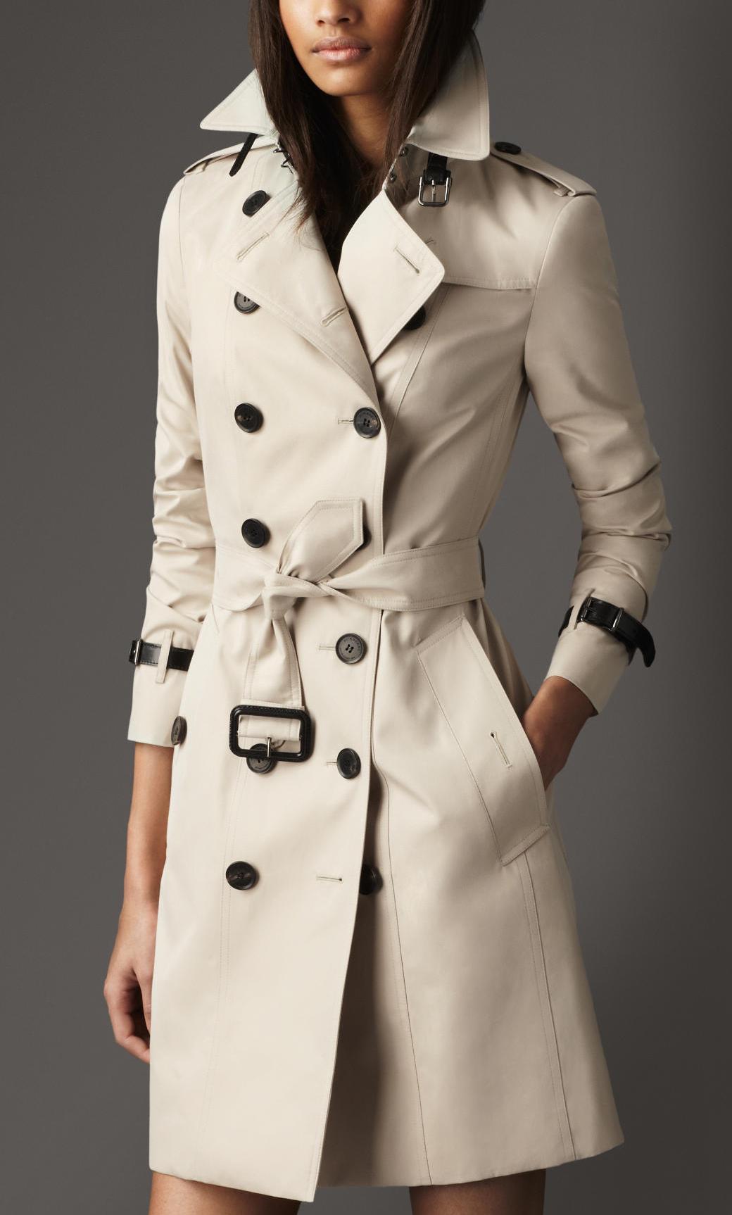 美國代購2013新款巴寶利burberry女裝風衣 長款皮革裝飾 38594111圖片
