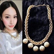 LONGBAO Europe and exaggerated personality short chains of gold twist small incense ball pearl necklace Collar bone chain sweater chain