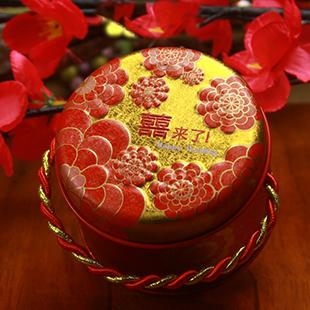 2012新款文弘中式创意喜糖盒 红色圆筒大号马口铁婚庆喜糖盒子701
