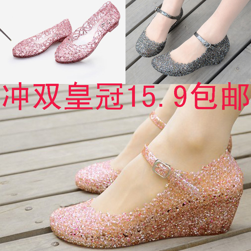Hole bird's nest summer wedge Sandals shoes women shoes pierced plastic hole crystal jelly shoes shoe high heel women shoes