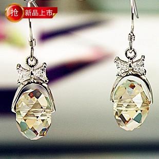 韩国正品女925纯银奥地利黄水晶耳环耳饰耳坠长款短款防过敏多色