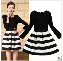 Black white striped long sleeve dress slim skirt European style