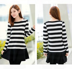 White striped long sleeve black dress loose fat