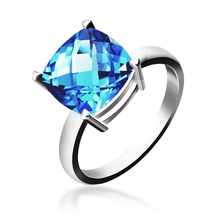 Wufu dream 18 k platinum Swiss blue topaz Shi Caibao ring for women 14 k gold ring present natural gems