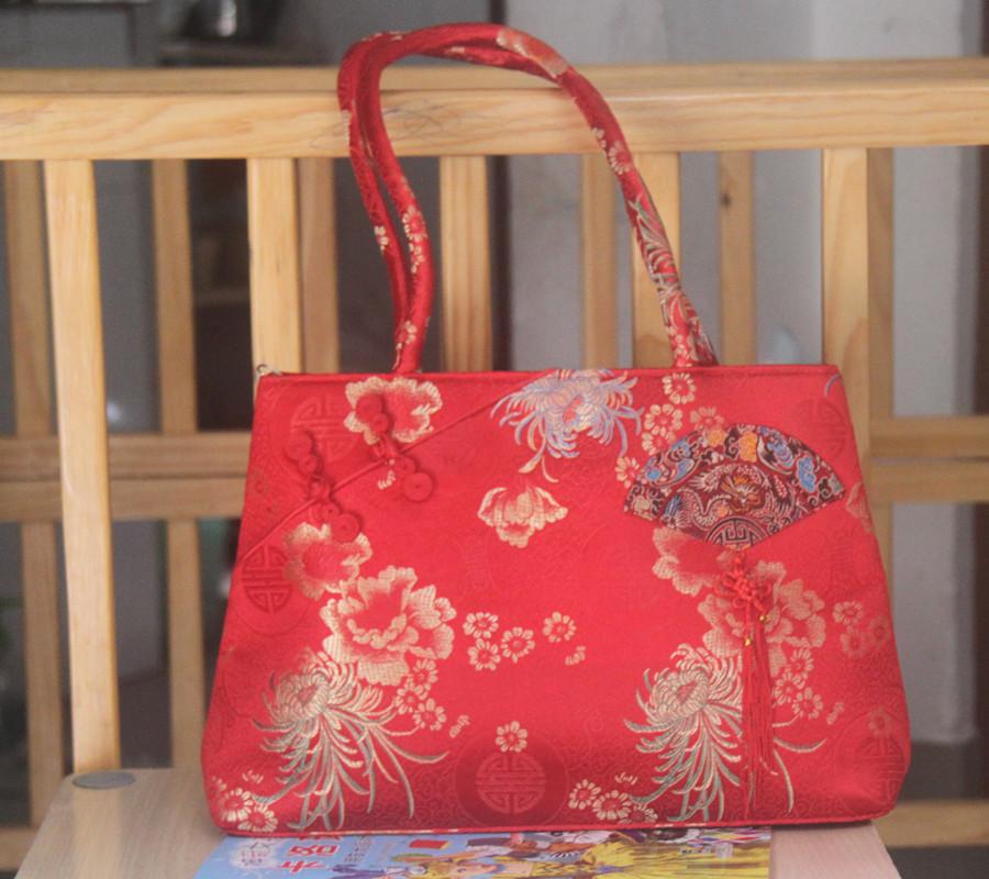婚庆用品 红色包包 蝴蝶结新娘手提包 超大结婚包包 肩包