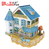 Cubicfun New cubic 3D dimensional jigsaw model glow holiday cottages enjoy lighting girls favorite gifts