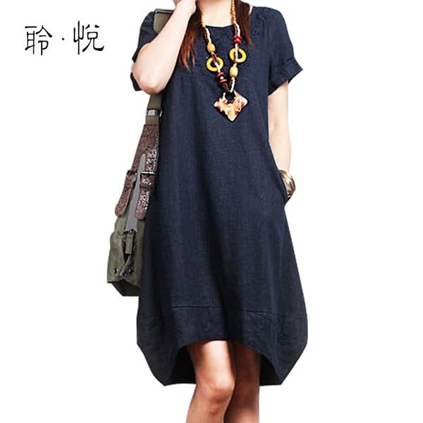 [限时促销]胖MM大码女装夏装连衣裙 2013新款宽松亚麻夏天韩版裙子