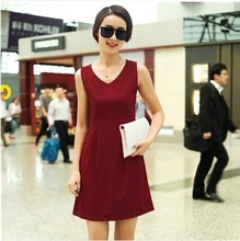 2013 spring sleeveless vest dress Korean Women summer V-neck Slim wild fashion bottoming skirt