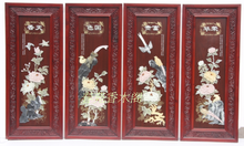 Antique solid wood painting natural jade jade mural adornment splendor in jade jade screen painting peony four screen
