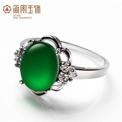 925 sterling silver emerald ring Thai female natural crystal jewelry natural green agate ring her mother gift
