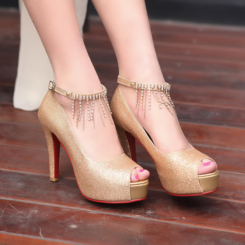 2013韩版时尚新款凉鞋女宴会结婚鞋新娘鞋鱼嘴水钻女鞋细高跟鞋