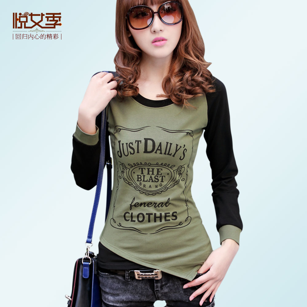 Yue women's 2013 spring season new round neck t shirts women splicing code base shirt women long sleeves Korean slim small shirt